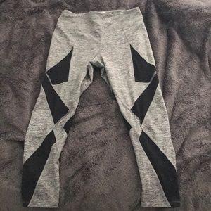 Gray and black mesh mid waist fitness leggings